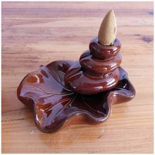 SZS Hot Ceramic Lotus Flower shape Gurgling down Backflow Incense Burner Brownish red