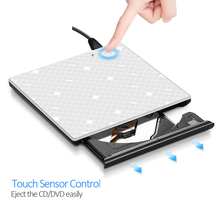 Touch Control USB 3.0 CD/DVD RW Drive Externl CD ROM/DVD ROM Ultra Slim Drive Portable/Writer for Windows 10/MAC OS linux