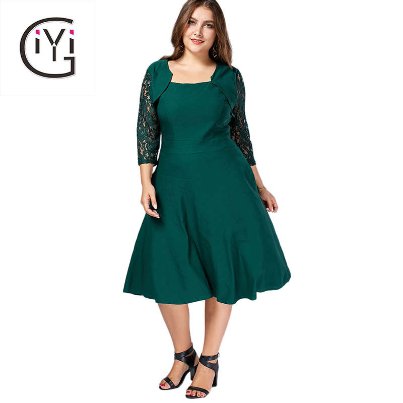 GIYI Plus Size 8XL 7XL 6XL 5XL Autumn Fall Floral Lace Midi Dress Women Clothes Loose Big Size Vintage Retro Dress Oversized