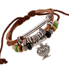 Brown Diomedes Bracelets New Multilayer Owl Bracelet Beads Hand-woven Euramerican Popularity Owl Accessories Drop ShippingJU04