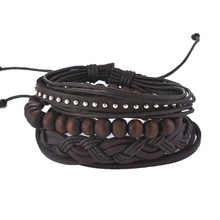 MJARTORIA Multilayer Leather Bracelets For Women Wood Bead Bracelet Men Casual Fashion Braided Punk Rock Unisex Jewelry