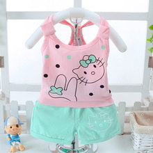 Toddlers Girls Baby Summer Clothing Set Cute Kitty KT Cat Dots Cotton Vest Shorts Suit Children Kids Tank Top Short Panties 24M