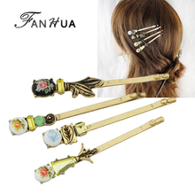 FANHUA  4pcs/set Hair Jewelry Vintage Style Antique Gold-Color Colorful Flower Pattern Barrettes Hairwear  Hair Accessories