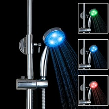 Chrome Finish Multi-color LED Hand Shower  ABS Round  Top Spray Bathroom Handheld Shower Head D05