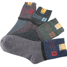 10 pieces 5 pairs Winter Warm Socks Casual Wool Socks For Men Fashion Patchwork Male Crew Socks Mix Color Calcetines Masculinos(China)