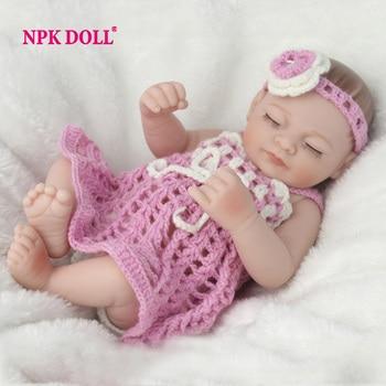 NPKDOLL Mini 10 Pulgadas Suave de Cuerpo Completo de Silicona Muñecas Reborn saco de dormir Recién Nacido Bebés Bebe Reborn Realista Doll Para Regalo de Baño juguete