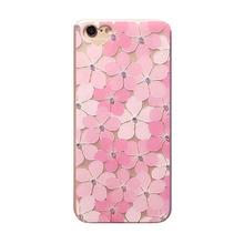 2016 Fashion manual pink cherry flower petal shiny crystal diamond pearl lanyard scrub tpu cell phones case For Iphone