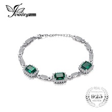 JewelryPalace Luxury 8.2ct Created Emerald Link Bracelet 925 Stering Sliver Jewelry Statement Bracelet for Women(China)