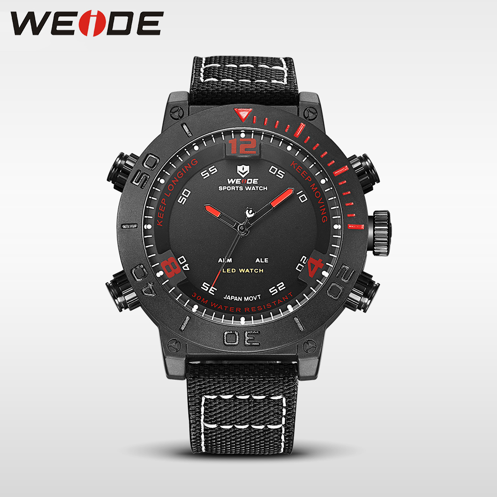 WEIDE red genuine watch luxury quartz sport digital nylong army watch water resistant alarm clock mens watches top brand luxury<br>