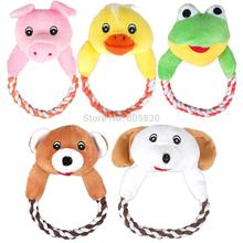 Squeaky Sound Pet Plush Toys Dog Squeaty Chew Tool Cute Dog Bear Frog Pig  And Duck Design  With A Handle