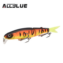 ALLBLUE Good Quality Professional Fishing Lure Suspend Minnow Lure 9cm 7.7g Swim Bait Jointed Bait Equipped Black Hook Soft Tail(China)