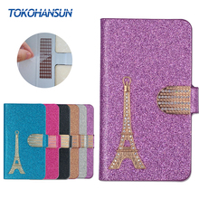For Micromax Canvas Spark 2 Pro Q351 Case Luxury Bling Flip Wallet Effiel Tower Diamond Hot PULeather cover TOKOHANSUN Brand