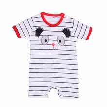 Newborn Sweet Baby Summer Cotton Boy Girl Totoro Striped Rompers One-piece Rompers Jumpsuits Infant Clothing 0-24M