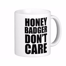 Honey Badger Don'T Care Frosted Glass Beer White Coffee mugs Tea Mug Customize Gift By LVSURE Ceramic Mug Travel Coffee Mugs