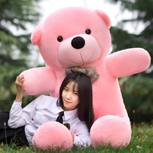 big bow round eyes pink teddy bear toy huge bear doll gift about 140cm