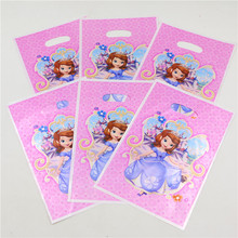 Princess Sofia Cartoon Portable Plastic Bags Girl Kid Birthday Part/Festival Decoration Supplies Favors Disposable Loot Bag 10pc