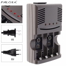 PALO 4 Slots Smart Quick Battery Charger with Over Current Protection for NI-MH / NI-CD / 9V / AA / AAA Rechargeable Batteries(China)