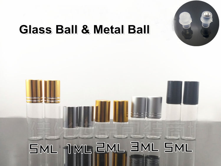 350pcs/lot 1ML 2ML 3ML 5ML Glass Roll On Bottle Clear Perfume Glass Vials Essential Oil Bottle with Stainless Steel Roller Ball(China)
