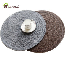HAKOONA 2 Pieces Linen Fabric Woven  Round Placemats Braided Placemat Table Pads  Gray Brown 2 Colors