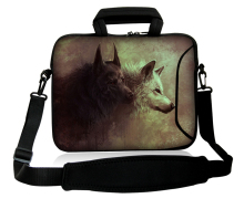 "Neoprene 10""13""14""15""17"" Fierce Wolf  Model Computer Handle Baldric  Satchel Bag Netbook Shoulder Cover Pouch Forder For Intel"
