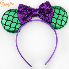 10pcs/lot Green Mermaid Ears With 4'' Glitter Sequin Bow On Colored Satin Covered Resin Hairband Girl Minnie Mouse Headband