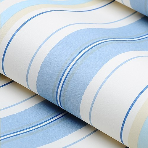Blue Non-woven Vertical Stripes wallpaper Kids Bedroom for Girl Princess Pink Bedding<br>