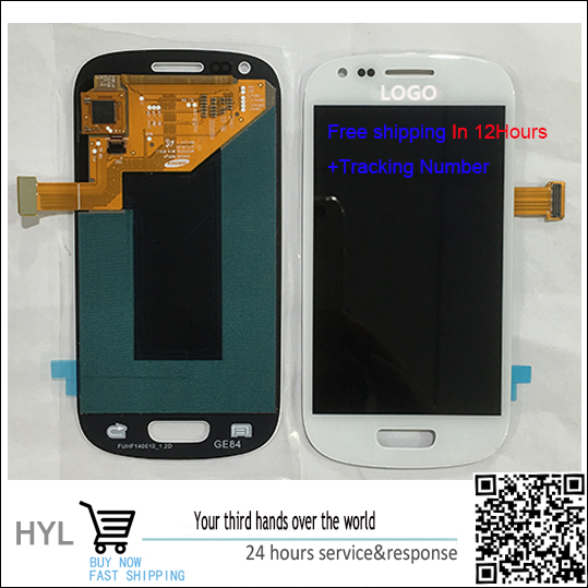 Original  Touch Screen touchscreen Digitizer+LCD display with frame For Samsung S3 mini i8190 free shipping<br>