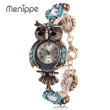 2017 Vintage Quartz Watches Luxury Brand Owl Fashion Women Bracelet Watch Designer Watches Beautiful Girl Gift Watch