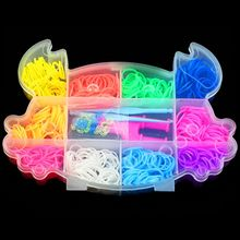 Crab Shaped Boxed Rubber Loom Bands Kit for Kids DIY Bracelets Mix Colorful Rubber Bands 2 Hook+1 Tool+12 S Clips Band Set(China)
