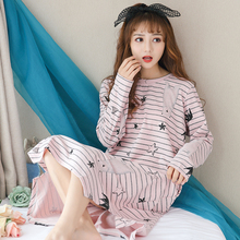 New Fashion Leisure Women Cotton Nightgowns Autumn Long Sleeve Striped Nightdress Loose Comfortable Sleepshirts For Girls Women(China)