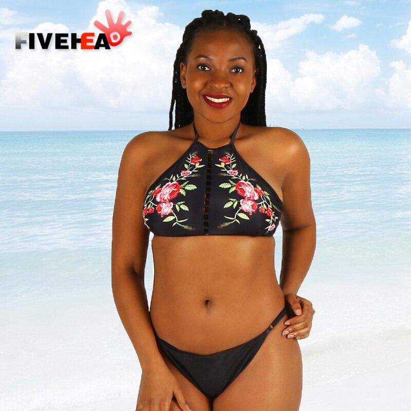 bikini women swimwear sexy sling low waist halter flower printed large size big cup bathing swimsuit biquini back lace<br>