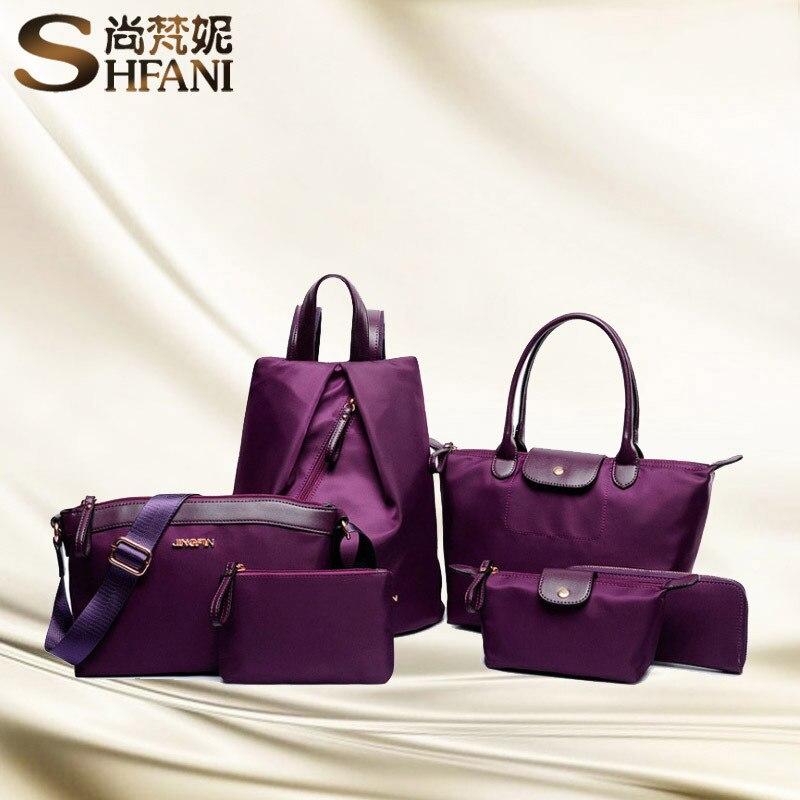 6pcs/set Women Composite Bags Ladies Nylon Handbag Messenger Shoulder Bags Black Purple Rose Red Bags Femme Bolsa Feminina Mujer<br>