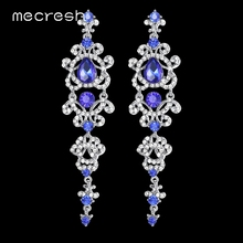 Mecresh Blue/Silver Color Chandelier Crystal Long Earrings for Women Rhinestone Hanging Earrings Bridal Wedding Jewelry EH421(China)