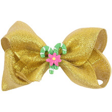 3Pcs/lot 4'' Cute Gold Organza Hair Bows Barrettes for Girls Handmade Boutique Flower Hairgrips Kids' Hair Accessories(China)