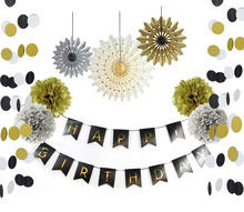 Gold and Black Paper Decoration Set (Happy Birthday Banner,Circle Garland,Paper Fans,Pom Poms) for Birthday Party First Birthday
