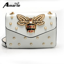 Women Brand Desinger Rhinestones Bee Leather Shoulder Bags 2017 Small Crossbody Bag with Chain For Girls Ladies Bags Bolso Mujer