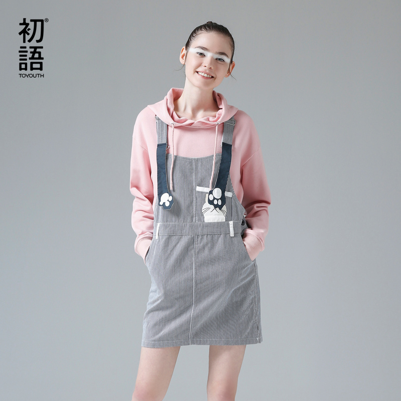 Toyouth Women Suspender Dress Cute Pocket Cat Printed Summer Jeans Dresses Students Striped Mini Denim Bodycon Vestidos Mujer