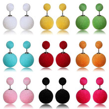 Hot Cashmere Flocking Fabrics Female Stud Earrings Multi-color Selection Plush Earrings Features Free Shipping H9 #