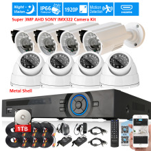 Full HD 8CH 1080P DVR 8x super 3MP SONY IMX322 IP66 1920P in/outdoor Camera Security Surveillance CCTV System usb 3G WIFI DVR