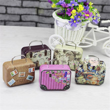 Retro Suitcase Creative Wedding Candy Box Earphone Wire Box Traveling Bag Change Gift box Sundries Storage Box Tea Tin Organizer