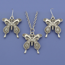 "Fashion Vintage Silver Tone Butterfly Women Jewelry Set Earring Pendant Short Necklace 18""  Free Shipping Wholesale Lot DY89"