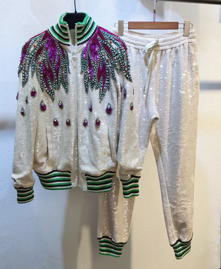 High quality embroidered rhinestone knitting coat+casual pants two piece set Fashion women diamonds sweater cardigans suit D833