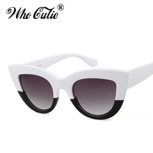 WHO CUTIE 2017 Oversized Cat Eye Sunglasses Versae Women Superstar Vintage White Black Cateye Sun Glasses Shades oculos OM347