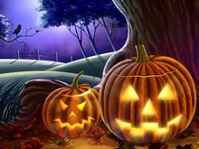 Night pumpkin lamp poster 50*70cm HD picture quality(Customizable)