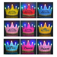 Tiara Kids BIRTHDAY HATS Crown Light-Up LED Flashing Caps Event Party Favors Gift