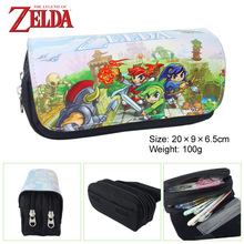 The Legend Of Zelda Fabric Pencil Case ,20*9*6.5cm Cartoon Double Zipper School Pencil Bag Kids Gift(China)