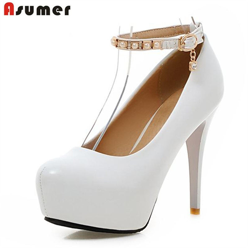 Asumer Big size 33-45 thin high heels shoes buckle shallow single wedding shoes women pumps four seasons shoes platform elegant<br>