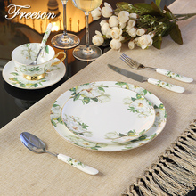 Europe Royal Bone China Tableware Set with Fork Knife Dishes Plates British Advanced Porcelain Meal Cutlery Dinnerware Set