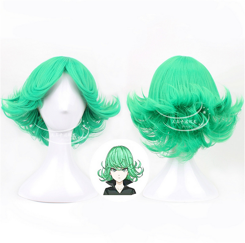 New arrival high quality ONE PUNCH-MAN Tatsumaki Cosplay Wigs Short Green Curly Halloween Christmas Party Wigs free shipping<br><br>Aliexpress