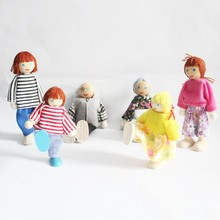 whole family baby wooden dolls 6 Family Members Parents puppet Toys Set/ Kids Children action figures rocking doll Free shipping